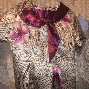 Dresses - White and purple two piece Polynesian dress💜